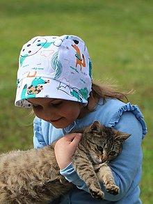 Detské čiapky - Detský ľanový čepček líška tyrkys - 13374923_