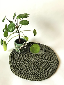 Úžitkový textil - Prestieranie okrúhle na stôl (Tmavá olivová zelená Ø 27 cm) - 13373932_