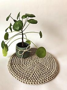 Úžitkový textil - Prestieranie okrúhle na stôl (Béžová melanž Ø 25 cm) - 13373945_