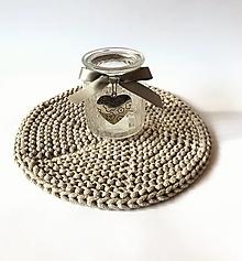 Úžitkový textil - Prestieranie okrúhle na stôl (Béžová melanž Ø 33 cm) - 13373972_