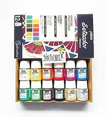 Farby-laky - Farba na textil Pébéo, Setacolor opaque, sada 12x20 ml - 13373567_