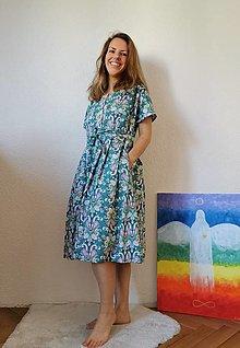 Šaty - Šaty zelené so vzorom - 13372763_