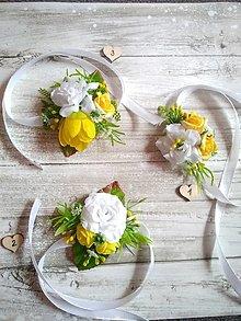 Pierka - náramky pre družičky žlto-biele - 13372573_