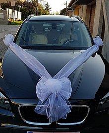 Kytice pre nevestu - kompletná výzdoba na auto z bielej organzy - 13372885_
