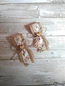 Pierka - vintage jutové pierka s ružičkami - 13372927_