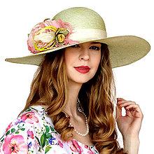Čiapky - Romantický slamený klobúk zelený - 13375025_
