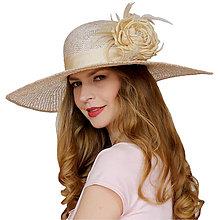 Čiapky - Vzorovaný slamený klobúk - 13375039_