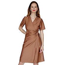Šaty - Kelly - hnedé zavinovacie šaty, krátky rukáv - 13375138_
