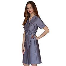 Šaty - Kelly - šedé zavinovacie šaty, krátky rukáv - 13375156_