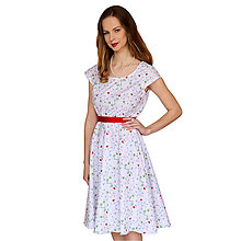 Šaty - Lola (vtáčiky) - elegantné šaty, bavlna Oeko tex - 13375640_
