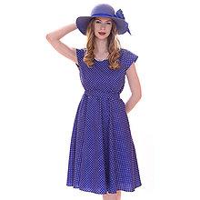 Šaty - Lola (bodky) - elegantné šaty modré, bavlna Oeko tex - 13375670_
