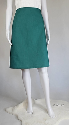 Sukne - Petrol - dámska ľanová sukňa, rozšírená - 13372666_