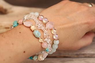 Náramky - TRIO náramky - ruženín, jadeit, krištáľ - 13372956_