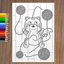 Hračky - Murované mačiatko sa teší z klbiek - 13374366_