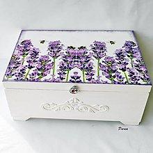 Krabičky - Drevená šperkovnica - levanduľa a včielky - 13378643_