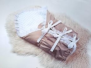 Textil - Zavinovačka s troma úväzmi béžová + biela minky - 13377457_