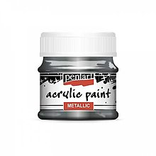 Farby-laky - Akrylová farba 50 ml, Pentart - metalická (rococo strieborná) - 13376619_