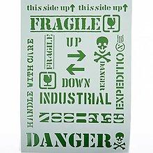 Pomôcky/Nástroje - Šablóna Stamperia - 20x30 cm - danger, industrial - 13377691_
