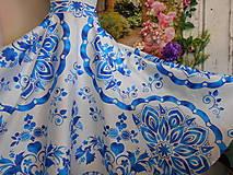 """Šaty - FLORAL FOLK """" Slovenská ornamentika"""" midi spoločenské šaty modrý akvarel (dievčenská súprava, sukňa + top, v 140) - 13377515_"""