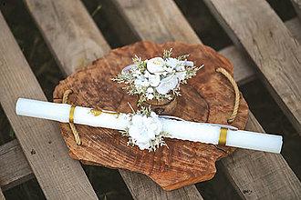 Detské doplnky - Detská kvetinová čelenka na 1. sväté prijímanie a ozdoba na sviecu - 13379252_