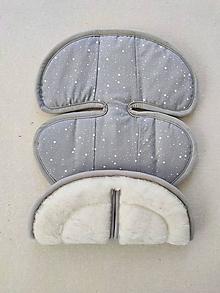 Textil - VLNIENKA podložka do autosedačky Klippan Dinofix 0-13kg 100% Merino Top Super wash proti poteniu Hviezdička šedá - 13378404_