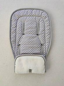 Textil - Podložka do športového bežeckého kočíka BOB REVOLUTION 100% MERINO TOP SUPER WASH B.O.B. Bodka šedá - 13378519_