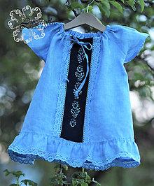 Detské oblečenie - Detské ľanové šatočky s jednofarebnou modrotlačou - 13378721_