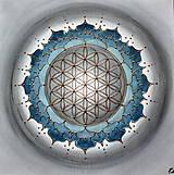 Obrazy - POSVÄTNÝ KVET ŽIVOTA (indigo-grey) 50 x 50 - 13377087_