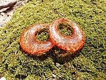 Náušnice - Náušnice trblietavé kruhy oranžové - 13378367_