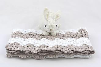 Textil - Béžovo-biela detská deka FINE - 13378163_