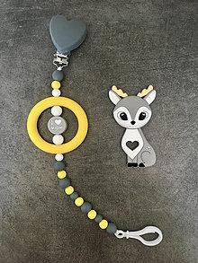 Detské doplnky - Retiazka na cumlík s krúžkom a hryzátkom Srnka - 13376802_