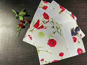 Úžitkový textil - Prestieranie a obrus - divé maky - 13379167_