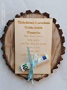 Papiernictvo - Drevena pohľadnica ku krstu - 13376165_