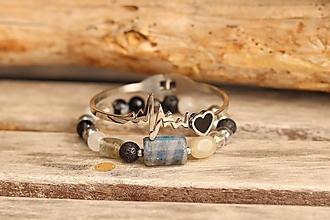 Náramky - DUO náramky s minerálmi + obručový náramok - 13377761_