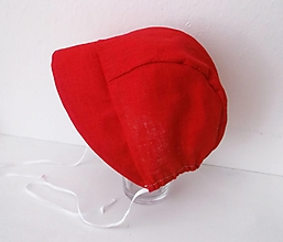 Detské čiapky - ľanový čepček/3/6 mesiacov červený - 13378026_