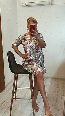 Šaty - Ľanové Šaty/ Tunika s Vreckami /AQUARELové kvety/ - 13381588_