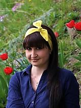 Šatky - Štýlová ľanová šatka žltá - 13381428_
