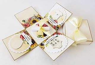 Krabičky - Exploding box - darčeková krabička svadobná - 13379395_
