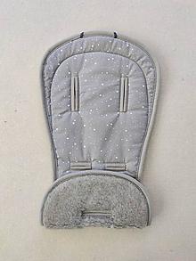 Textil - VLNIENKA podložka do kočíka Emmaljunga NXT90  100% merino top super wash Natural Hviezdička šedá - 13379368_