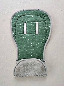 Textil - VLNIENKA podložka do kočíka TFK joggster ADVENTURE 2 100% Merino top super wash Grey Hviezdičky Green - 13381606_