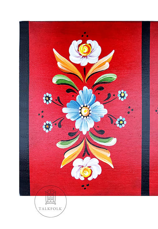 Ručne maľovaná truhlička Rosemaling