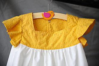 Detské oblečenie - Žlté madeirové šatočky (veľ.122) - 13381671_