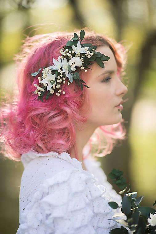 """Ozdoby do vlasov - Svadobný greenery hrebienok """"prísľub rána""""  - 13379910_"""
