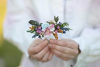"""Ozdoby do vlasov - Kvetinový hrebienok """"vôňa lúky pri zotmení"""" - 13379852_"""