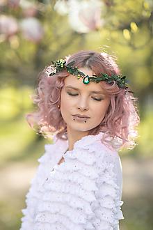 """Ozdoby do vlasov - Kvetinová tiara """"smaragdy v tráve"""" - 13379965_"""