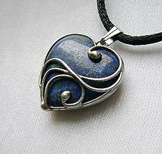 Náhrdelníky - Mini srdiečko - lapis lazuli - 13381928_