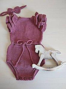 Detské oblečenie - Romper s volánovým rukávom + čelenka grátis - 13379758_