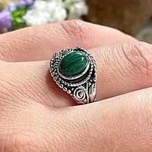 Prstene - Antique Silver Malachite Ring / Vintage prsteň s malachitom - 13382726_
