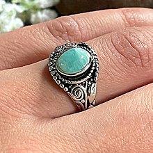 Prstene - Antique Silver Amazonite Ring / Vintage prsteň s amazonitom - 13383198_