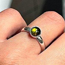 Prstene - Mini Elegant Green Tourmaline Ring Silver Ag 925 / Strieborný prsteň so zeleným prírodným turmalínom - 13383662_